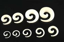 1 PAIR Acrylic White Spiral Ear Plug Expander Tapers Gauges