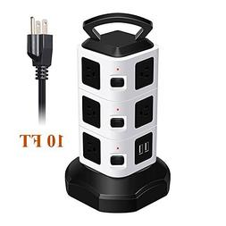 OMAGAX 10 AC Outlet Electric Vertical Power Strip Tower Surg