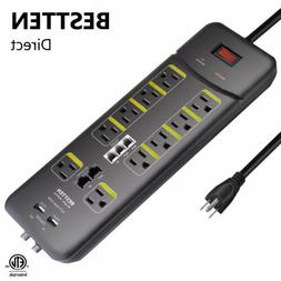 BESTTEN 10 Outlet All-in-One Surge Protector Power Strip wit