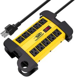 CRST 10-Outlets Heavy-Duty Metal Power Strip with 15 Amps, 1