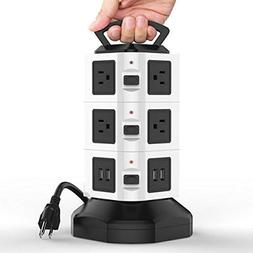 10 Outlet 4 USB Port Power Strip Tower Surge Protector Elect