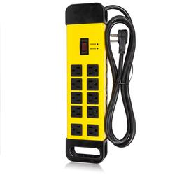 Maxxima 10 Outlet Heavy Duty Power Strip, 1440 Joules Surge