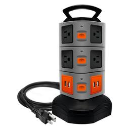 3000W Power Strip Tower, 10 Outlet Plugs 4 USB Surge Protect