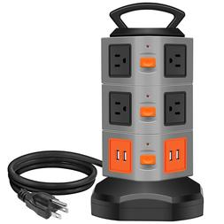 10-Outlet Surge Overload Protector Power Strip, 4 Port USB C