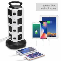 14 Outlet 4 USB Port Power Strip Tower Surge Protector Elect