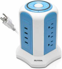 10ft Power Strip Tower JACKYLED 4.5A 4 USB 9 Outlets Electri