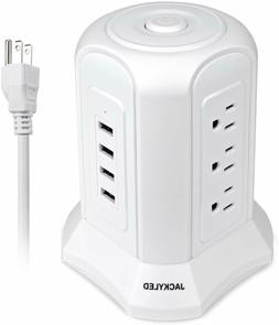 10ft Power Strip Tower 9AC Outlets 4USB Surge Protector Desk