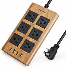 10Ft Power Strip with 4 USB ports Flat Plug Surge Protector
