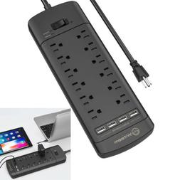 12 Outlets Power Strip Surge Protector with 4 USB Charging P