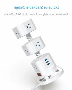 BESTEK 12 Outlets Power Strip Tower with 3 USB Ports Stackab