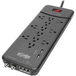 Tripp Lite 12  Outlet Surge Protector Power Strip, 2 USB Cha