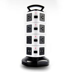 14 Outlet Surge Protector Power Strip with 4 Port USB Chargi