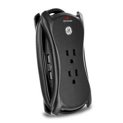 GE 14015 Surge, Travel, 3 Outlets, 1050J, 1.5' Cord, USB, 2