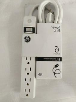 GE 6 Outlet Power Strip, 8 Ft Long Extension Cord, Grounded
