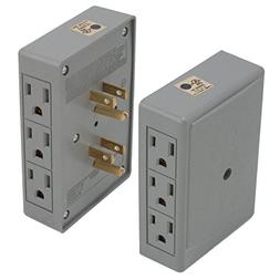 2 Side Entry 6-Way Electrical Socket Outlet Splitter In-Wall
