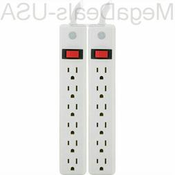 2 PACK GE 14087 6-Outlet General-Purpose Power Strips with 2