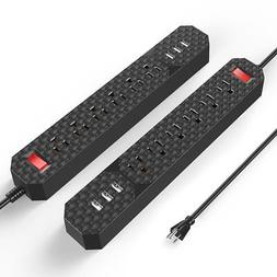 Poweradd 6-Outlet Surge Protector Power Strip with 3-Port U