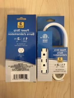 2 Pack - New Small Power Strip 3 Outlet 1 foot Cord great fo