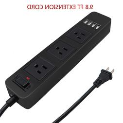 2 Prong Power Strip with 9.8ft Extension Cord,3-Outlet with