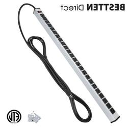 Bestten 24-Outlet Heavy Duty Metal Power Strip with 15-Foot