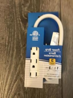 2x Pack 3 Prong 3 Outlet Power Strip 1ft Extension Cord Heav