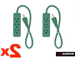 2x 3-Outlet Power Strip 1 Ft. Length GREEN Indoor Grounded 3