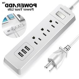 Poweradd 3 Outlet Power Strip 10A Surge Protector + 3 USB Po