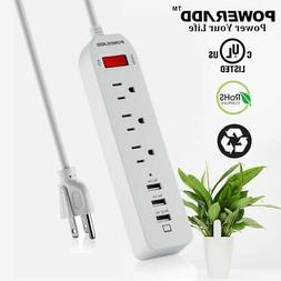 Poweradd 3-Outlet Surge Protector Power Strip 3 Smart USB Ch