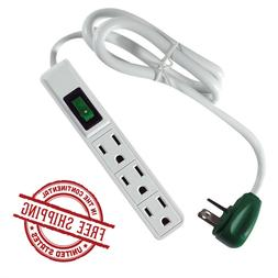 3-Outlet Surge Protector Power Strip Electric Cord Right Ang