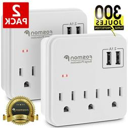 2x Surge Protector Power Strip 3 Outlet Wall Tap USB Charger