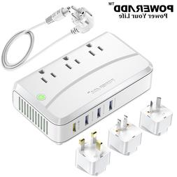 3-Output Power Strip Voltage Converter Travel Adapter With 4