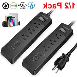 3-Port Outlet Power Strip 3 USB Charging Port Surge Protecto