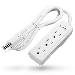 Fosmon 3 Outlet Power Strip Heavy Duty with 3FT Extension Co
