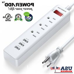 3 Outlet Power Strip Surge Protector With 3 USB Port Wall Ch