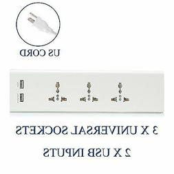 Ceptics Travel 3 Outlet Universal Power Strip Socket Dual Wo