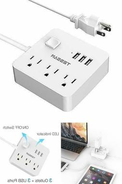 3 USB 3 Outlet Power Strip Charging Station 5 ft Extension C