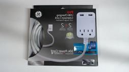 GE 38597 Pro Designer Extension Cord, 10', 2 Outlets + 2 USB