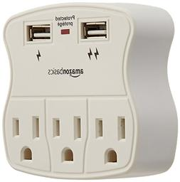 AmazonBasics 3-Outlet Surge Protector with 2 USB Ports - 4-P