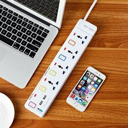 4 Outlet Power Strip Surge Protection Extension Cord with 2