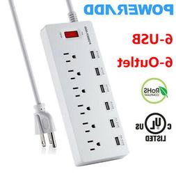 4 Outlet Power Strip Surge Protector With 4 USB Wall Charger