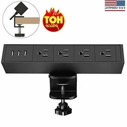 4 Plugs and 3 USB Ports Desk Clamp Power Strip with Surge Pr