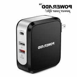 45W Fast Quick Charge QC 3.0 USB Wall Charger with Type-C Ph