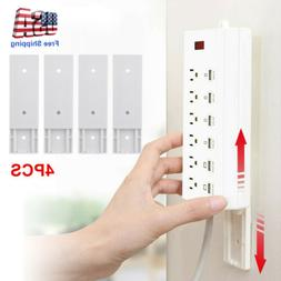 4pcs Wall-Mount Self Adhesive Power Strip Holder Fixator Soc