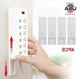 4x Self Adhesive Power Strip Holder Fixator Wall-Mounted Soc