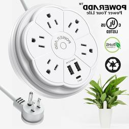 5 Outlet Power Strip Surge Protector With 2 USB Wall Charger