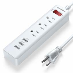 POWERADD 6 in 1 3-Outlet Power Strip with USB Ports 5 foot E