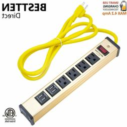 4 Outlet 4 USB Charging Port Heavy Duty Metal Power Strip w/