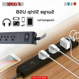 6 Outlet 2 USB Power Strip Surge Protector 6.5 Ft Extension