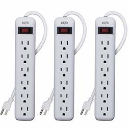 KMC 6-Outlet Power Strip 3-Pack, Overload Protection, 3-Foot