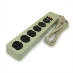 6 Outlet Power Strip  3ft Cord - Metal